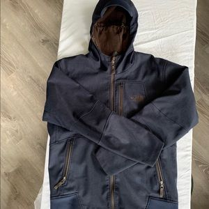NAVY MENS NORTH FACE WINTER/HEAVY RAIN COAT (M)